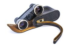 Opera binoculars with case isolated on white royalty free stock image