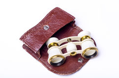Opera glasses with case stock photos