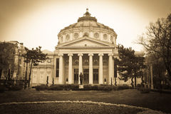 Opera House. The Philharmonic and Opera House of Bucharest,Romania.Old style picture,sepia toned and vignetting applied Royalty Free Stock Images
