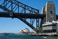 Opera house and bridge Royalty Free Stock Photo
