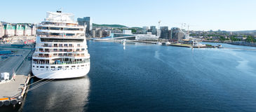 Opera House and cruise ship in Oslo Royalty Free Stock Photo