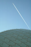 Opera house detail. Jet flying over opera house in sydney, abstract photo Stock Photos