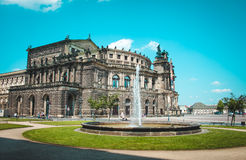 Opera House in Dresden, Germany. Theaterplatz. German landmark in Dresden, cultural center Royalty Free Stock Photography