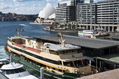 Opera house and Ferry royalty free stock image