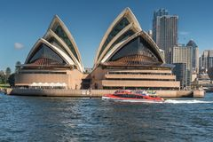 Opera House frontal view off the water, Sydney Australia. Stock Image