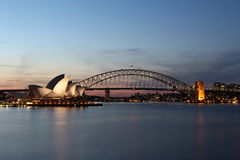 Opera house and Harbour bridge Royalty Free Stock Photos