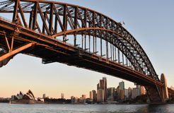 Opera House and Harbour Bridge from Milsons Point Ferry Wharf at Sunset. Royalty Free Stock Photos