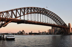 Opera House and Harbour Bridge from Milsons Point Ferry Wharf at Sunset. Royalty Free Stock Image