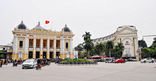 Opera House with Hilton Hotel at Old Town in Hanoi, Vietnam Royalty Free Stock Photography