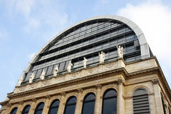 Opera house in Lyon. Perspective shot of an opera house with neoclassical architecture and statues mixed with modern dome roof, Lyon, France, historical and Stock Photography