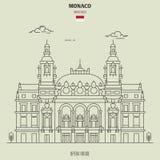 Opera house in Monte Carlo, Monaco. Landmark icon. In linear style royalty free illustration