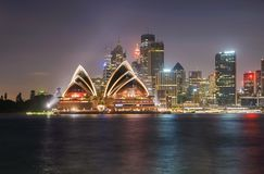 The opera house at night, was illuminated by light. It is the ic royalty free stock images