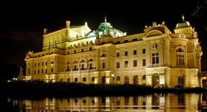 Opera house reflection. Krakow opera house at night Stock Image