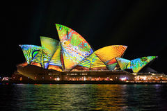 Opera house in summer colours of lime, aqua, yellow and orange Royalty Free Stock Image