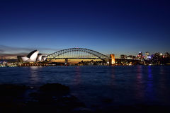 Opera House after sunset Royalty Free Stock Photos
