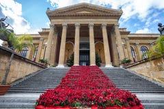 Opera House Teatrotheater Massimo Vittorio Emanuele Stock Afbeeldingen