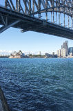 Opera House under the bridge. The view to the City, opera house and circular quay from Milsons Point stock photo