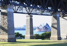 Opera house under the bridge Royalty Free Stock Image