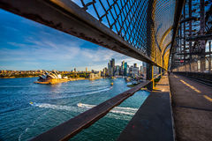 Opera house view on walking way on the harbour bridge. Royalty Free Stock Photography