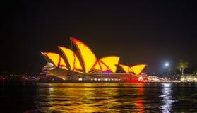 Opera house in Vivid show. Stock Photo