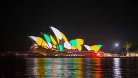 Opera house in Vivid show. Royalty Free Stock Images