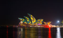 Opera house in Vivid show. Royalty Free Stock Image