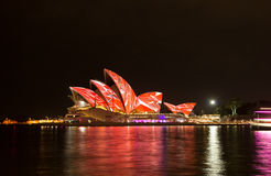 Opera house in Vivid Sydney. Royalty Free Stock Images