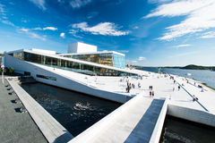 Opera house wide. OSLO, NORWAY - AUGUST 11: View on a side of the National Oslo Opera House on August 11, 2012, which was opened on April 12, 2008 in Oslo Royalty Free Stock Images