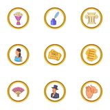 Opera icons set, cartoon style. Opera icons set. Cartoon illustration of 9 opera vector icons for web design Stock Photo