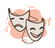 Opera Masks. A hand drawn vector illustration of happy and sad expression opera masks on simple background (editable Stock Photography