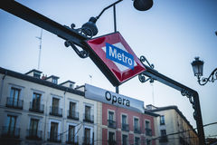 Opera Metro station, oldest street in the capital of Spain, the Stock Images