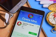 Opera Mini - fast web browser dev application on Smartphone screen stock image