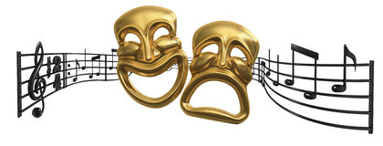 Two gold dramatic masks in foreground with sheet of note music behind it