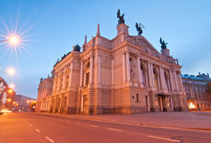 Opera at night in the Lviv Royalty Free Stock Photo