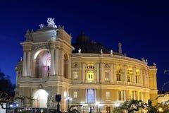 Opera- och balettteater på natten i Odessa Ukraine Arkivbilder