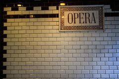 Opera sign on the wall. Opera sigh of subway station in Budapest made from white and black tile Royalty Free Stock Images