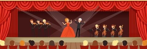 Opera singers singing on stage with symphonic orchestra before the audience horizontal vector Illustration. Web design Stock Photography