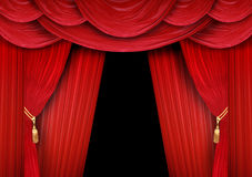 Opera stage. Red curtain of a classical theater Stock Images