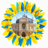 Opera theatre in Odessa framed with petals in colors of Ukrainia. Opera and ballet theatre in Odessa framed with petals in colors of Ukrainian flag stock photography