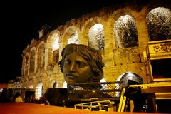 Opera in Verona night scene, ancient theatre. Ancient theatre in Verona. Opera festival, props outside of the arena before the starting the events Stock Images