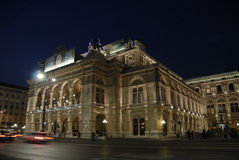 The opera of Vienna by night. Nightview of the Opera in Vienna, Austria royalty free stock photos