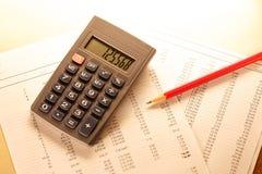 Operacyjny budżet, kalkulator i ołówek, obraz stock