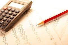 Operacyjny budżet, kalkulator i ołówek, zdjęcia royalty free