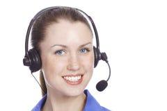 Operador alegre de sorriso do telefone da sustentação imagens de stock royalty free