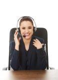 Operador alegre de sorriso do telefone da sustentação fotografia de stock royalty free