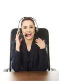 Operador alegre de sorriso do telefone da sustentação fotos de stock royalty free