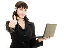Operador bonito novo da fêmea do centro de chamadas Fotos de Stock