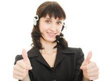 Operador bonito novo da fêmea do centro de chamadas Imagem de Stock Royalty Free