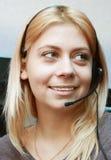Operador brilhante do Chamar-centro do sorriso. Fotografia de Stock