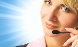 Operador cómodo del teléfono Foto de archivo libre de regalías